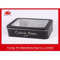 China Black Gift Printed Tin Containers 0.23mm Rectangle Metal Watch Packaging Clear Window On Top wholesale