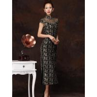 China Black Long Satin Qipao Wedding Dress Embroidery high neck wedding gowns wholesale