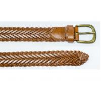 China Single Prong Buckle Brown Color Braided Belt For Jeans wholesale