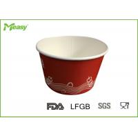 China Red Disposable Paper Bowl for Frozen Yogurt , 14oz paper ice cream cups on sale