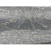 China Beautiful Silver Embroidered Heavy Beaded Lace Fabric , Beaded Net Fabric 130cm Width wholesale