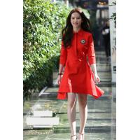 China fashion turn down collar mid-length sleeves ladies dresses red color wholesale