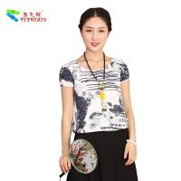 China Chinese Culture Pattern Womens Casual Blouses T Shirt For Summer Beach Garden wholesale