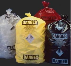 China custom printed jumbo plastic garbage packaging plastic asbestos waste bag, poly asbestos warning printed burial bags wholesale