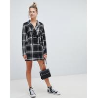 China OEM high quality girls multi check print blazer dress wholesale