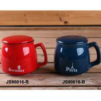 China Red 15oz Ceramic Mugs With Lid And Spoon / Ceramic Cups With Handle wholesale