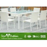 Aluminium Outdoor Dining Settings White 8 Person Patio Dining Set Moisture - Proof Feature Manufactures