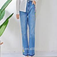 China Embroidered Women Denim Wide Leg Pants , Girls Loose Fit Jeans Breathable wholesale