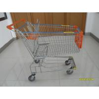 China 150L Metal Wire Shopping Trolley , Swivel TPE Casters Supermarket Shopping Trolley wholesale