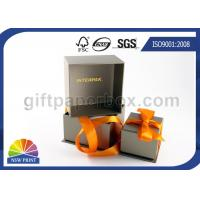 China Silver Cardboard / Art Paper Jewelry Box For Gift Packaging With Ribbon Bowknot wholesale