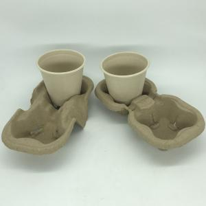 China Coffee Cup Tray Biodegradable Pulp 2&4 Paper Cup Carriers For Take Away Shipping wholesale