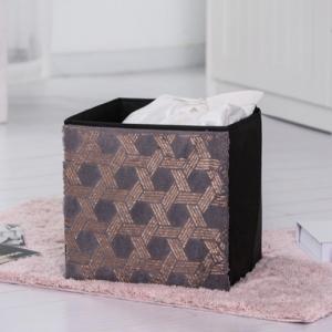 China 30x30x30cm Black And Gold Fabric Foldable Storage Bins wholesale
