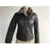 China Levis dark brown ladies' pleather zip through jacket with detachable fake fur collar LEDO1743 wholesale