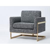 China Fashionable top-Quality grey linen with brass finish metal base living room fabric couches sofa wholesale