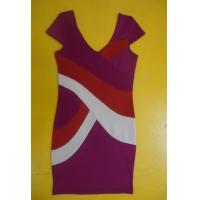 China Bodycon Workwear V Neck Short Sleeve Dress , Color Block Shift Dress For Work wholesale
