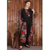 China Chinese Style Womens Linen Suits Clothing Black Blouse And Pants Casual Suit wholesale