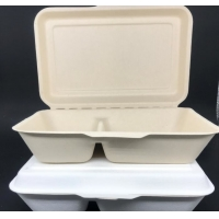 Buy cheap Natural Color Conjoined 1000ml Disposable Lunch Box 2 Compartment Degradable from wholesalers