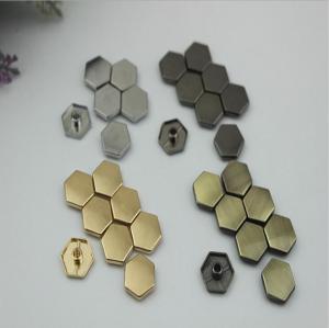 China Bags hardware zinc alloy hanging brush anti brass 15 mm six-sided decorative bottom nails with single rivets wholesale