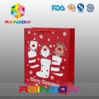 China Red Customized Paper Bags Christmas Gift Bag With Red Rope / Cute Printed wholesale