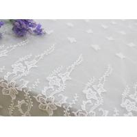 Embroidered Edge Fabric White Floral Lace Vine Netting Tulle For Bridal Gowns