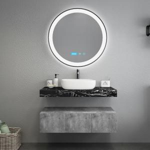 China Black Marble Countertops Unique Bathroom Vanities , Touch Mirror Bathroom Sink Vanity Unit wholesale