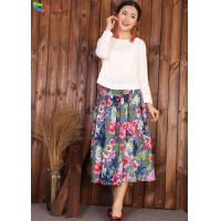 China Autumn Breathable Chinese Long Skirts Flower Printed For 18-60 Years Old wholesale