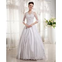 China Women Queen Anne Neckline Wedding Dresses Beaded / A line Wedding Gowns with long trains wholesale