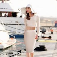 China 2014 new autumn/winter sexy long sleeve top knee-length skirt 2 piece bandage dress wholesale