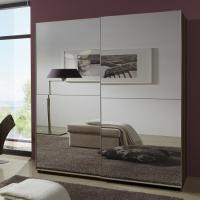 China Simple Space Saving Melamine Bedroom Furniture Modern Luxury MDF With Two Full Mirror wholesale