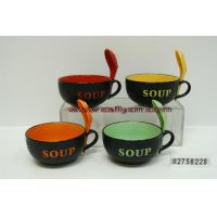 China Ceramic soup bowls with spoon wholesale