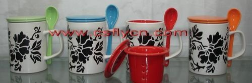 Quality Ceramic Mugs/Cups with spoon for sale
