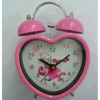 China Heart shape metal double bell alarm clock wholesale