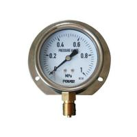 China 3inch-80mm half stainless steel bottom thread type liquid filled pressure gauge with flange wholesale