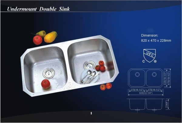Quality Square Undermount Double Bowl Stainless Steel Kitchen Wash Sink (802) for sale