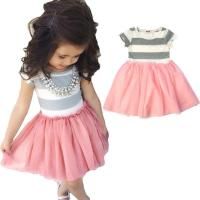 China Unique grey joint pink grenadine baby girl birthday dresses wholesale