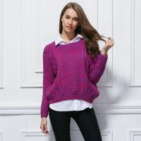 China Latest fancy knitting design colorful thick sweater for lady wholesale