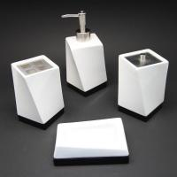 China House&Cleaning 510305 Ceramic Bathroom Accessories 4pc Set, Twisty Soap & Tooth brush Holder wholesale