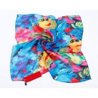 China Lady Winter New Square Printing Silk Scarves and Wrap for Hair and Neck wholesale
