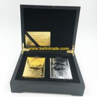 China Wooden Box Set of Gold Foil Playing Cards wholesale