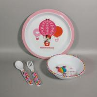 3pcs Kids Melamine Dinnerware Plate Bowl Sets