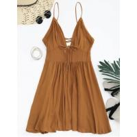 China Dresses Plunge Low Back Lace Up Sundress - Light Brown M wholesale