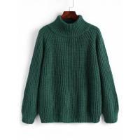 Women Raglan Sleeve Chunky Turtleneck Sweater - Blackish Green