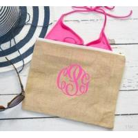 China Monogrammed Jute Burlap Carry All Bag Pouch wholesale