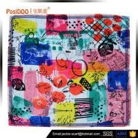 China Posidoo Hand Roll Digital Printing Silk Scarves Square Lady Scarf wholesale