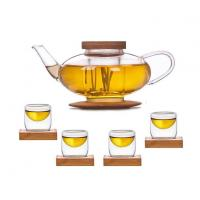 Glass Teaset 1 Teapot + 4 Cups With Bamboo Lid & Coaster