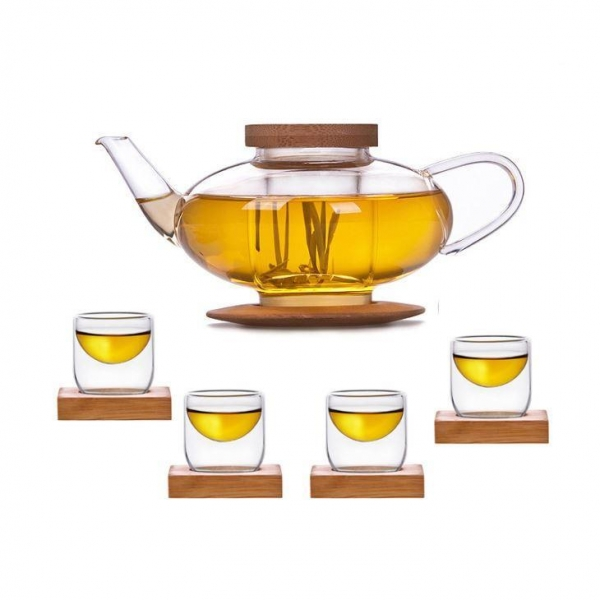 Quality Glass Teaset 1 Teapot + 4 Cups With Bamboo Lid & Coaster for sale