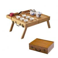 China Portable Bamboo Ceramic Travel Tea Set With Bamboo Foldable Tea Tray wholesale