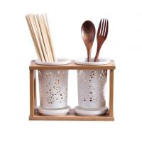 China 2-Cup Ceramic Cutlery Holder With Bamboo Stand wholesale