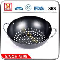 Buy cheap Silver Black Non-stick Grill Wok with Wire Handle from wholesalers