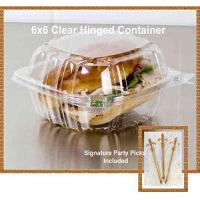 China Pack of 100 Small Clear Plastic Hinged Food Container 6x6 for Sandwich Salad Party Favor Cake Piece on sale